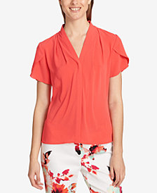 Calvin Klein Flutter-Sleeve V-Neck Top