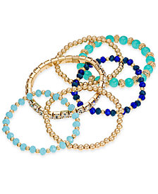 I.N.C. Gold-Tone 6-Pc. Set Bead & Crystal Stretch Bracelets, Created for Macy's