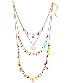"I.N.C. Gold-Tone Bead & Tassel Layered Necklace, 16"" + 3"" extender, Created for Macy's"
