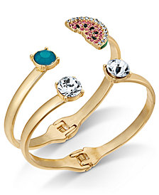 I.N.C. Gold-Tone 2-Pc. Set Multi-Stone & Watermelon Bangle Bracelets, Created for Macy's