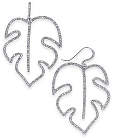 I.N.C. Silver-Tone Pavé Palm Leaf Drop Earrings, Created for Macy's