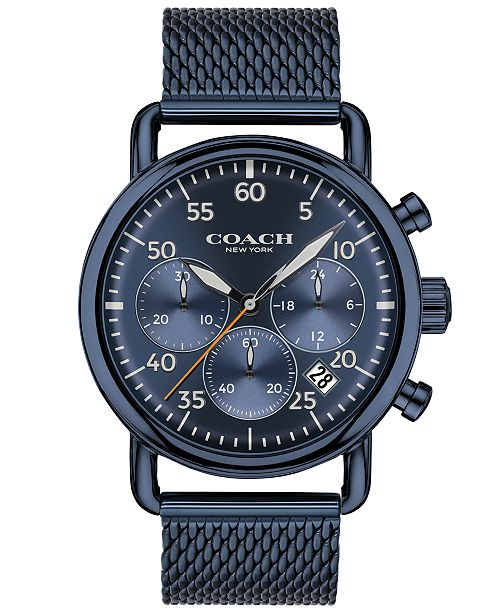 62ffe1d9c8519 COACH Men s Delancey Blue Stainless Steel Mesh Bracelet Watch 42mm ...