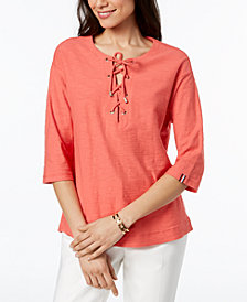 Tommy Hilfiger Cotton Striped Lace-Up Top, Created for Macy's