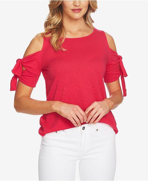 d8fc2a8d52159 CeCe Cold-Shoulder Tie-Sleeve Top   Reviews - Tops - Women - Macy s