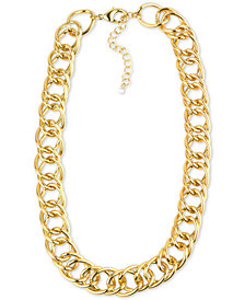 "Charter Club Gold-Tone Open Link Collar Necklace, 18"" + 3"" extender, Created for Macy's"
