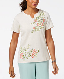 Alfred Dunner Petite Embellished Embroidered Top