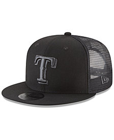 New Era Texas Rangers Blackout Mesh 9FIFTY Snapback Cap