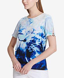 Calvin Klein Floral-Print Hardware-Embellished Top