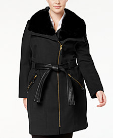Via Spiga Plus Size Mixed-Media Asymmetrical Coat
