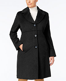 Jones New York Plus Size Notched Shawl-Collar Walker Coat