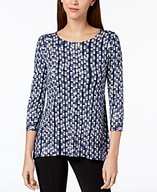 Alfani Petite Printed Woven-Back Top, Created for Macy's