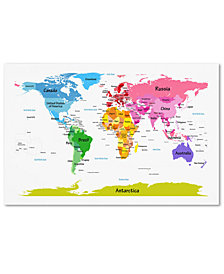 "Michael Tompsett 'World Map for Kids II' 22"" x 32"" Canvas Wall Art"