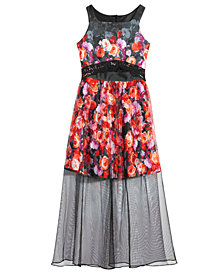 Bonnie Jean Big Girls Floral-Print Mesh Scuba Maxi Dress
