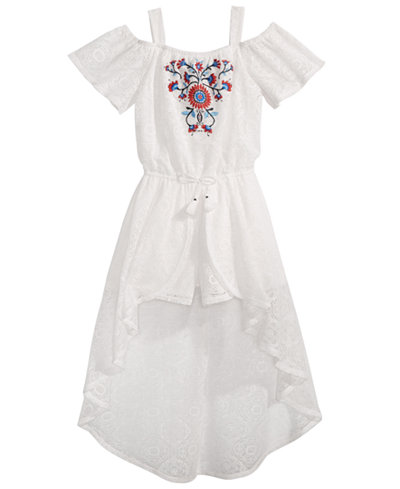 Sequin Hearts Big Girls Embroidered Lace Maxi-Overlay Romper