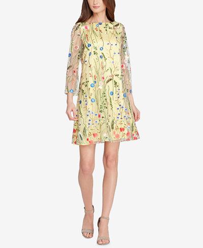 Tahari Embroidered Mesh Shift Dress