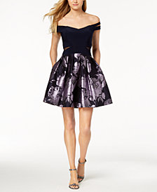 Xscape Strappy Floral-Print Fit & Flare Dress