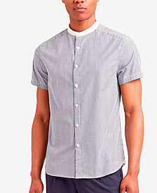 Kenneth Cole New York Men's Band-Collar Striped Shirt