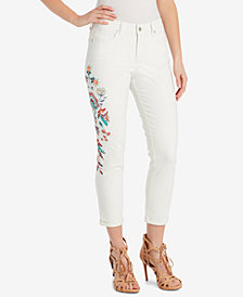 Jessica Simpson Juniors' Forever Embroidered Roll-Cuff Skinny Jeans