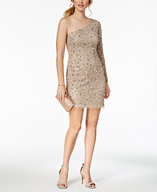 Adrianna Papell One-Shoulder Petite Sequined Mesh Dress