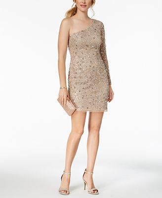 Adrianna Papell One Shoulder Petite Sequined Mesh Dress Dresses