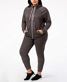 Champion Plus Size Raglan-Sleeve Zip Hoodie & Jogger Sweatpants