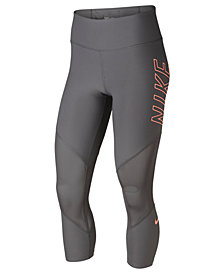 Nike Power Dri-FIT Mesh-Inset Cropped Workout Leggings