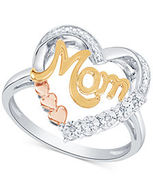 Diamond Mom Heart Ring (1/10 ct. t.w.) in Sterling Silver & Gold- and Rose Gold-Plate