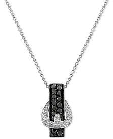 "Le Vian Exotics® Diamond Belt Buckle 18"" Pendant Necklace (3/8 ct. t.w.) in 14k White Gold"