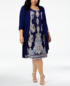 R & M Richards Plus Size Pleated Necklace Dress & Jacket