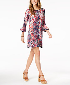 MICHAEL Michael Kors Printed Bell-Sleeve Shift Dress in Regular & Petite Sizes