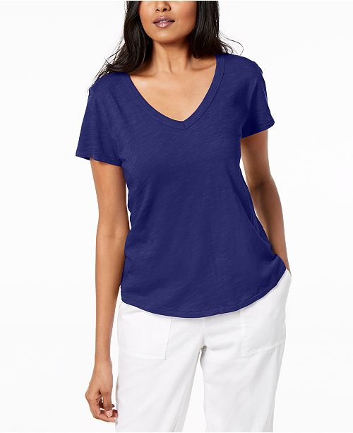 Fisher Blue Regular Petite Cotton amp; Shirt Eileen Violet T Organic d7q8pfdxw