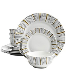 Gibson Classic Bursts 12-Pc. Dinnerware Set, Service for 4