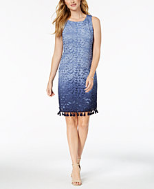 Jessica Howard Ombré-Lace Tassel Dress, Regular & Petite