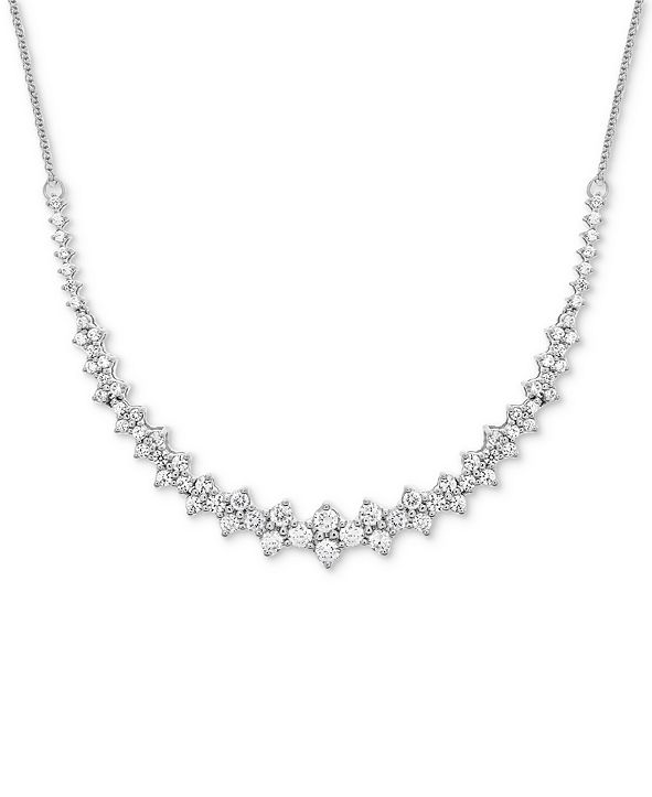 "Wrapped in Love Diamond Collar Necklace (1-1/2 ct. t.w.) in 14k White Gold, 16"" + 2"" extender, Created for Macy's"
