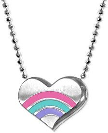 "Alex Woo Enamel Rainbow Heart 16"" Pendant Necklace in Sterling Silver"