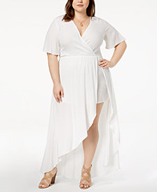 Soprano Trendy Plus Size High-Low Maxi Dress