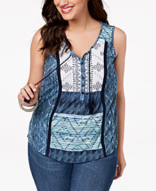 Style & Co Plus Size Mixed-Print Sleeveless Peasant Top, Created for Macy's