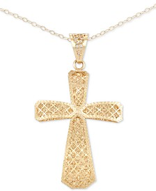 "Italian Gold Openwork Textured Cross 18"" Pendant Necklace in 14k Gold, Made in Italy"