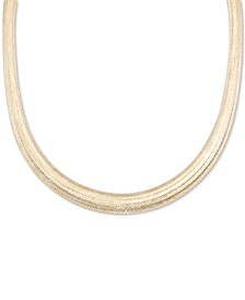"Omega Graduated Mesh 18"" Collar Necklace in 14k Gold, Made it Italy"