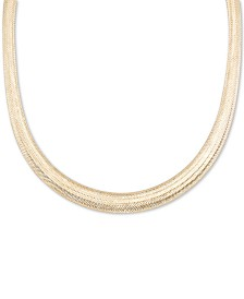 "Italian Gold Omega Graduated Mesh 18"" Collar Necklace in 14k Gold, Made it Italy"
