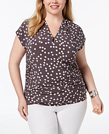 Anne Klein Plus Size Keyhole Ruched Top