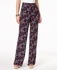 MICHAEL Michael Kors Floral-Print Wide-Leg Pleated Pants