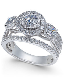 Diamond Three-Stone Openwork Pavé Engagement Ring (2 ct. t.w.) in 14k White Gold