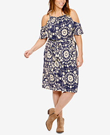 Lucky Brand Trendy Plus Size Cold-Shoulder Dress