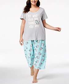 HUE® Plus Size Printed Capri Pajama Set