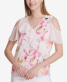 Calvin Klein Ruffled Cold-Shoulder Top
