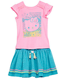 Hello Kitty Little Girls 2-Pc. Graphic-Print Top & Skirt Set