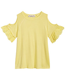 Pink Republic Eyelet Ruffle Cold Shoulder Top, Big Girls