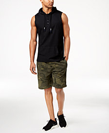 American Rag Henley Tank Hoodie & Camo Knit Shorts, Created for Macy's
