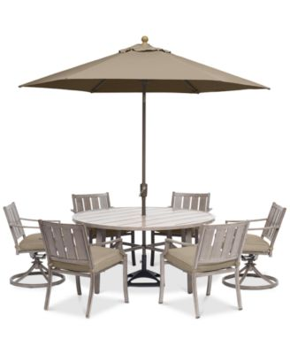 "Wayland Outdoor Aluminum 7-Pc. Dining Set (60"" Round Dining Table, 4 Dining Chairs & 2 Swivel Chairs) with Sunbrella® Cushions, Created for Macy's"